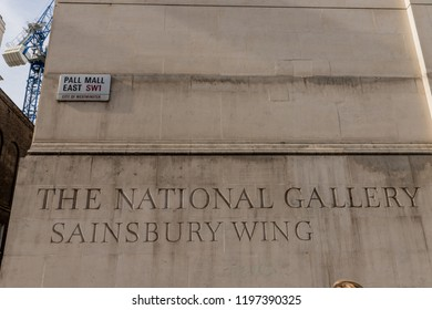 London. september 2018. A view of a sign for the Sainsburys Wing of the National Gallery for Trafalgar square in london