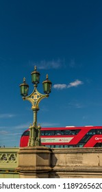 London. September 2018. A view of a Victorian street lantern from westminster Bridge in Westminster in London