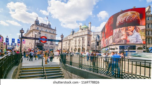 LONDON- SEPTEMBER, 2018:  Wide angle view of Piccadilly Circus- a famous London landmark in London's West End