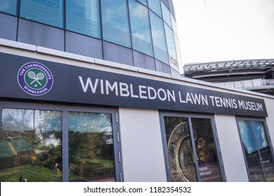 LONDON- SEPTEMBER, 2018: Wimbledon Lawn Tennis Museum exterior, a museum at the world famous Wimbledon tennis grounds