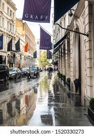 LONDON- SEPTEMBER, 2019: Exterior of the Graff jewellery store on New Bond Street, London- a luxury jewellery brand landmark London street