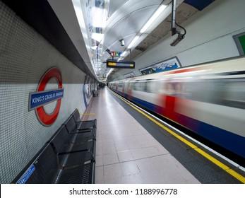 London - September 21, 2018: London tube moving, London underground, public subway, Kings cross st. pancras, London, September 21, 2018, Great britain