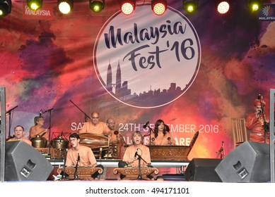 LONDON - SEPTEMBER 24: A British Gamelan Team performing Gamelan music at the Malaysia Fest 2016 in Trafalgar Square, London, UK, SEPTEMBER 24, 2016. The festival is now in its 7th year.