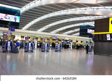 LONDON - SEPTEMBER 24 : Inside Heathrow Airport Terminal 5 Departure on September 24, 2010 in London, England. London Heathrow Airport is the largest airport in the United Kingdom.
