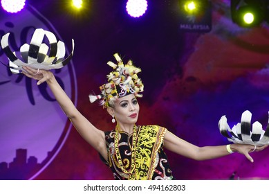 LONDON - SEPTEMBER 24: A Malaysian cultural dancer performing the Enggang Dance at the Malaysia Fest 2016 in Trafalgar Square, London, UK, SEPTEMBER 24, 2016. The Festival is now in its 7th Year