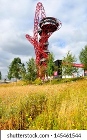 LONDON - SEPTEMBER 4. The ArcelorMittal Orbit is a symbolic structure of the Olympic Games, designed by Anish Kapoor and Cecil Balmond. September 4, 2012,  in the Olympic Park, Stratford, London, UK.