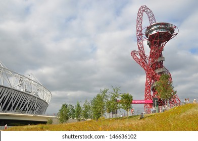 LONDON - SEPTEMBER 4. The ArcelorMittal Orbit, the symbolic structure of the Olympic Games designed by Anish Kapoor and the Stadium on September 4, 2012 in the Olympic Park, Stratford, London, UK.