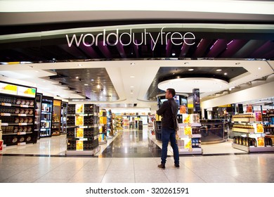 LONDON - SEPTEMBER 5TH: Duty free shop at heathrow airport on September the 5th, 2015 in London, england, uk. Heathrow is one of the busiest airports in the world
