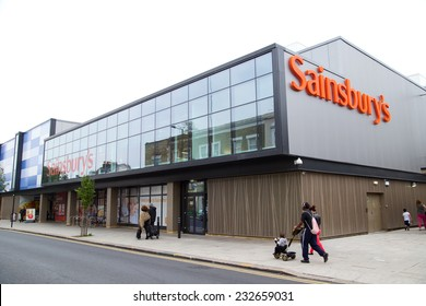 LONDON - SEPTEMBER 5TH: The exterior of a Sainsbury's supermarket on September the 5th, 2014, in London, England, UK. Sainsbury's is one of the UK's leading  supermarkets.