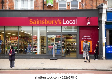 LONDON - SEPTEMBER 5TH: The exterior of an sainsbury's supermarket on September the 5th, 2014, in London, England, UK. Sainsbury's is one of the UK's leading  supermarkets.