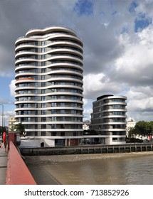 LONDON - SEPTEMBER 9, 2017. New apartments at Riverwalk House on Millbank overlooking the River Thames by Vauxhall Bridge in central London, UK.