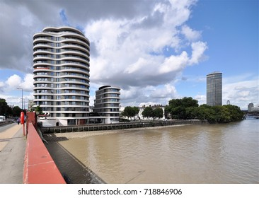LONDON - SEPTEMBER 9, 2017. New apartments at Riverwalk House on Millbank overlooking the River Thames by Vauxhall Bridge with the 1963 Millbank Tower in the distance, located in central London.