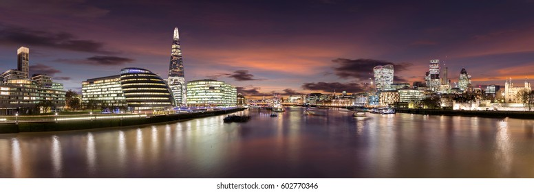 London skyline after sunset seen from Tower Bridge