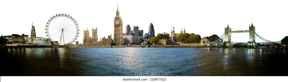 London skyline, with all important buildings and attractions of the city