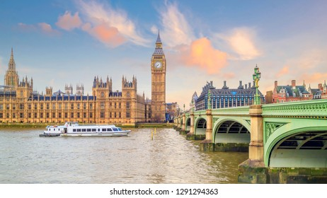 London skyline with Big Ben and Houses of parliament in UK.