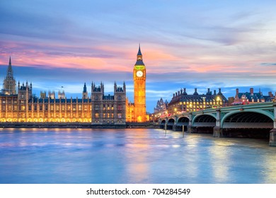 London skyline with Big Ben and Houses of parliament at twilight in UK