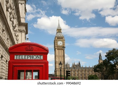 London skyline with Big Ben and Iconic Phone Booth