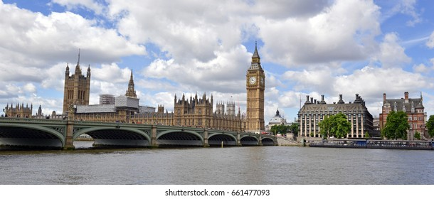 London skyline with Big Ben and Westminster Palace and Houses of Parliament, which has become a symbol of England and Brexit discussions