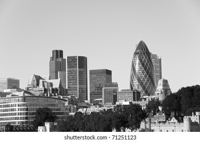 London skyline in black and white