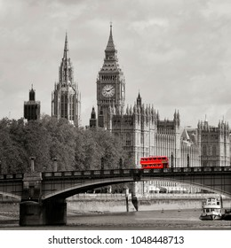 London skyline, close-up, include many iconic landmarks such as Westminster Palace, Big Ben, Central Tower, Thames River, Lambeth Bridge and Routemaster Bus present.