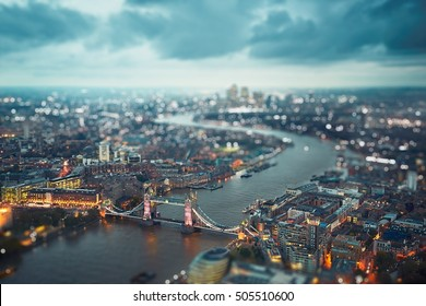 London skyline with illuminated Tower bridge at the dusk, The United Kingdom of Great Britain and Northern Ireland