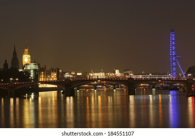 London skyline, include London Eye, Big Ben and Victoria Tower, seen from South Bank