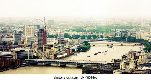 London skyline, include many iconic landmarks such as Blackfriars Railway Bridge, Waterloo Bridge, Hungerford Bridge, Big Ben and London Eye.
