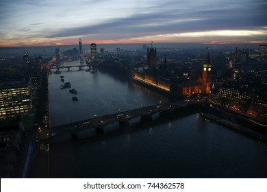 London skyline, include Westminster Palace, Big Ben, Thames River and Westminster Bridge, bird's eye view, seen from the sky