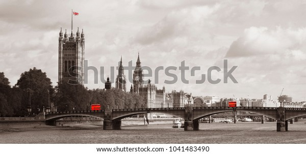 London skyline, include Westminster Palace, Big Ben, Victoria Tower and Lambeth Bridge. London't symbolic icons Routemaster Bus and Union Jack present.