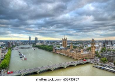 London Skyline landscape with Big Ben, Palace of Westminster, London Eye, Westminster Bridge, River Thames, London, England, UK.