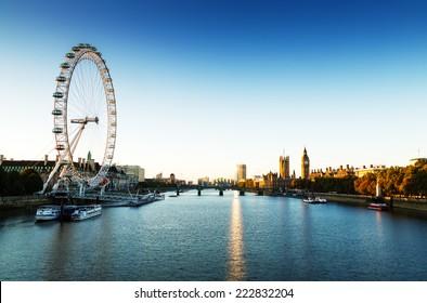 London Skyline landscape at Sunrise with Big Ben, Palace of Westminster, London Eye, Westminster Bridge, River Thames, London, England, UK.