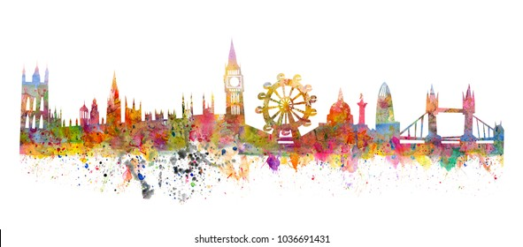London skyline like a watercolor painting in grunge style