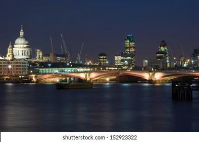 London skyline at night, United Kingdom