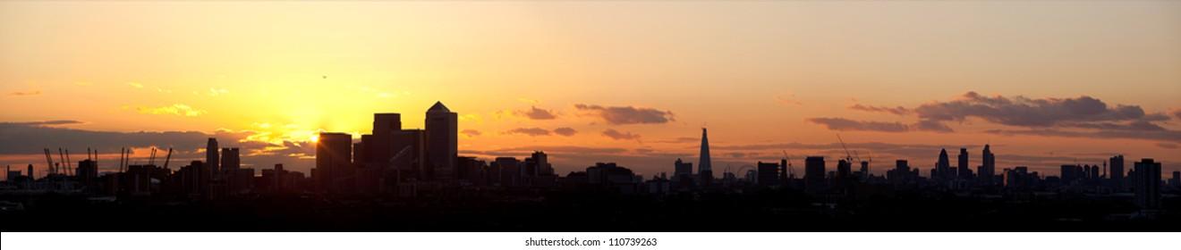 London Skyline Panorama at Sunset
