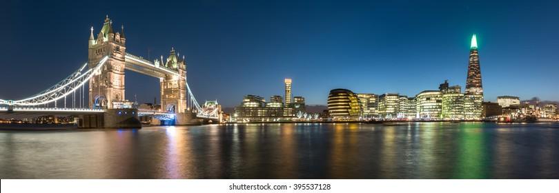 London Skyline Panorama at Twilight
