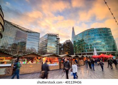 London skyline shot at twilight in UK