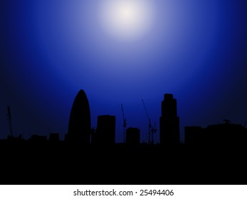 London skyline in silhouette with the Gherkin