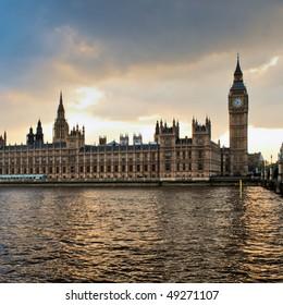 London skyline at sunset.