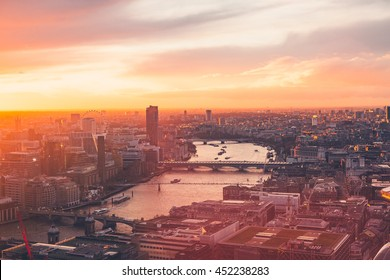 London Skyline - Thames - Sunset - Summer - Sky Garden - Orange