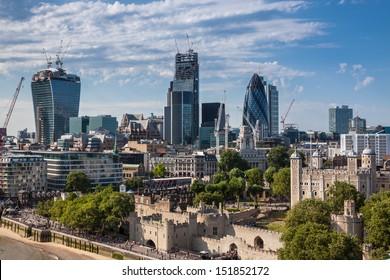 London skyline from the Tower Bridge