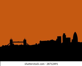 London skyline with Tower bridge and skyscrapers at sunset illustration JPEG