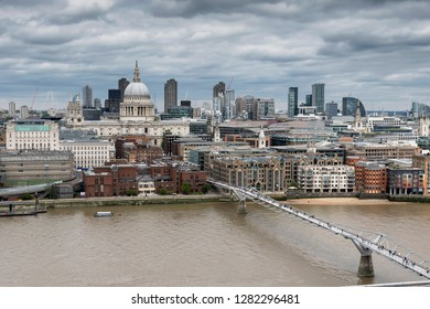 London skyline. View on St. Paul's Cathedral and Millennium Bridge