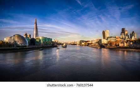 London skyline viewed across river Thames in the morning