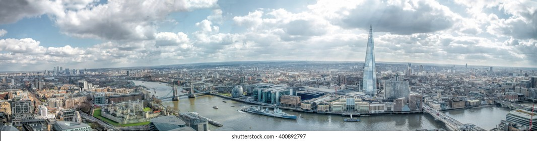London Skyline Wide View Panorama. East & South, Tower of London, River Thames Canary Wharf, The Shard, London Bridge. Famous Landmarks
