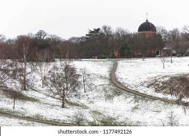 London snow scene with the observatory in Greenwich park