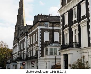 London South Kensington street houses church colorful photography