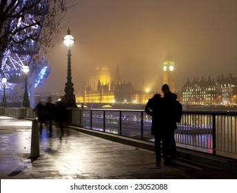London Southbank on a foggy night