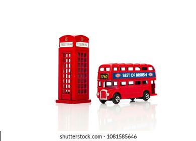London souvenirs, red telephone booth, double-decker buses popular city symbols. Isolated on white background