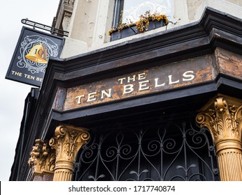 London, Spitalfields, UK. April 2020: The Ten Bells is a public house at the corner of Commercial Street and Fournier Street in Spitalfields in the East End of London. Closed due to London lockdown.