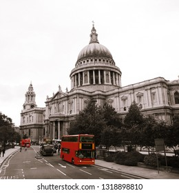 London St Paul's Cathedral and iconic Double Decker Bus, seen at bus driver's view